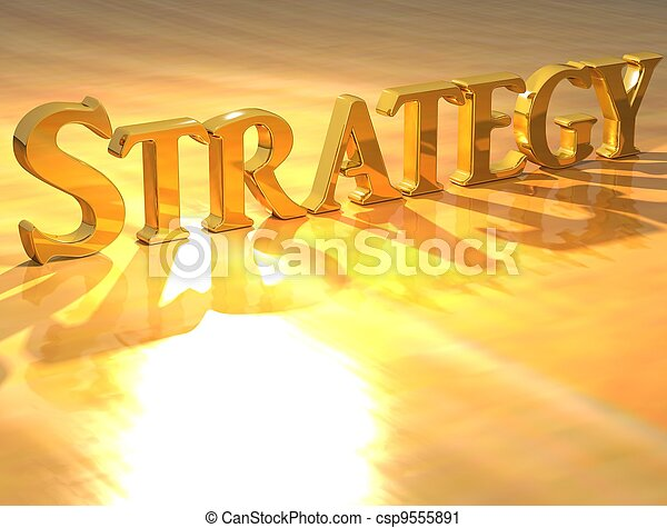 Estrategia 3D texto de oro - csp9555891