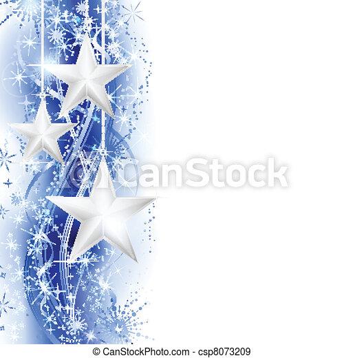 estrela azul, borda, prata - csp8073209