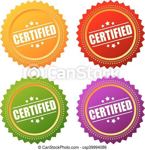 estrela, certificado, ícone - csp39994086