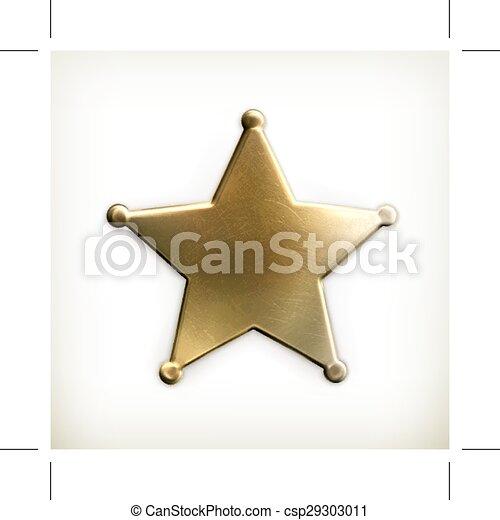 estrela, xerife, ícone - csp29303011