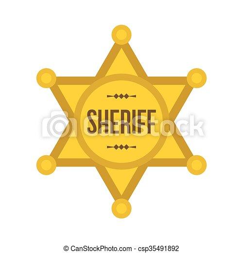 estrela, xerife, ícone - csp35491892