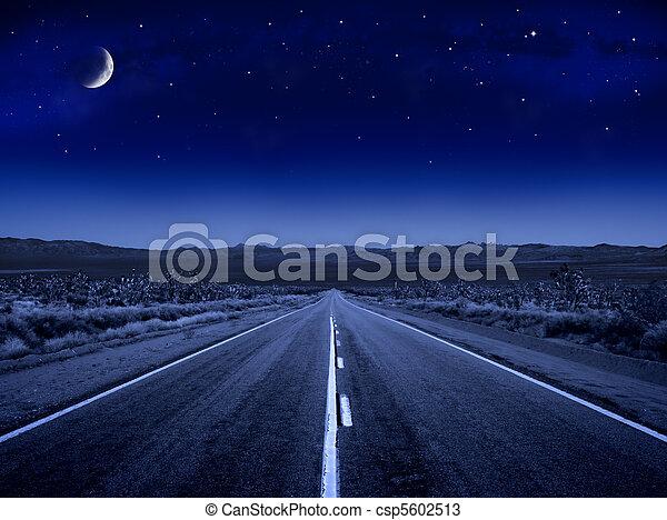 estrelado, estrada, noturna - csp5602513