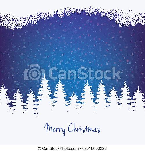 estrelas, inverno árvore, fundo, neve - csp16053223