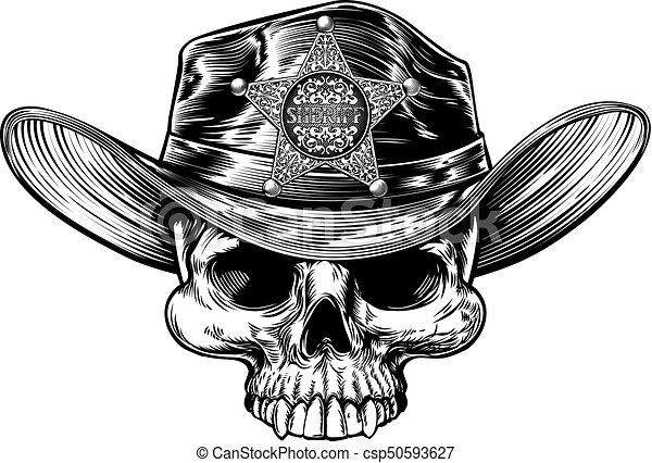 Sombrero de vaquero estrella del sheriff - csp50593627