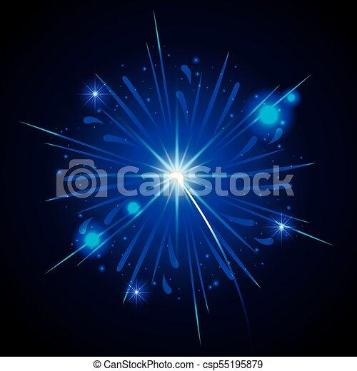 Fuegos artificiales estallando en forma de estrella azul sobre fondo negro - csp55195879