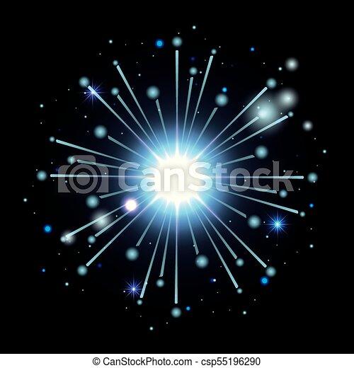 Fuegos artificiales estallando en forma de estrella con destellos azules claros sobre fondo negro - csp55196290