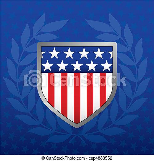 estrella azul, protector, plano de fondo, rojo blanco - csp4883552