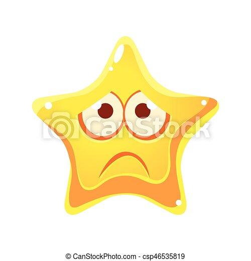 Cara Emocional De Estrella Amarilla Triste E Infeliz