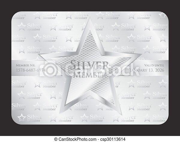 estrella, club, grande, miembro, plata, tarjeta - csp30113614
