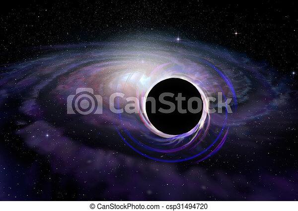 Estrella de agujero negro en el espacio profundo, ilustración - csp31494720