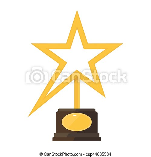 Una estatuilla de premio a la estrella dorada - csp44685584