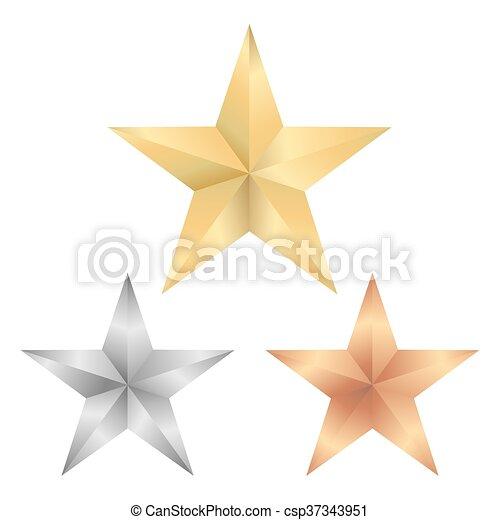 Estrella dorada, estrella de plata y bronce en vector - csp37343951
