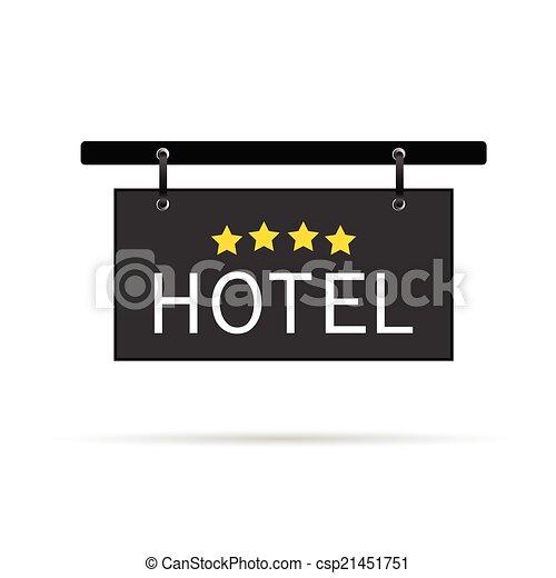 El cartel del hotel con ilustración de cuatro vectores estelares - csp21451751