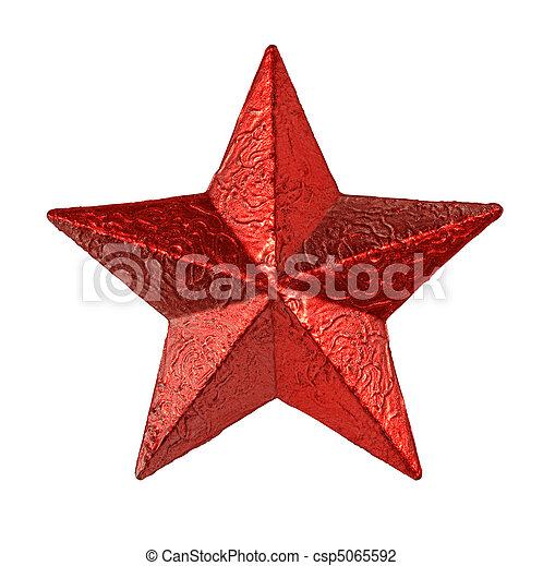 Estrellas rojas de metal colgando aisladas de fondo blanco - csp5065592