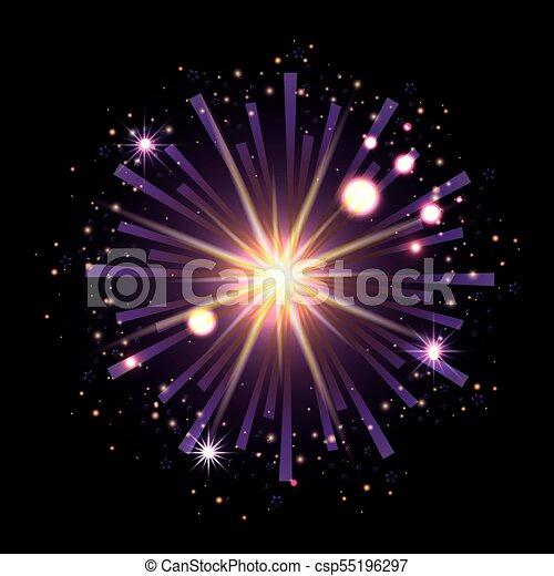 Fuegos artificiales estallando en forma de estrella con destellos púrpuras radiantes en fondo negro - csp55196297
