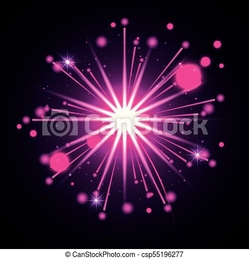 Fuegos artificiales estallando en forma de estrella con radiantes destellos de magenta en el fondo negro - csp55196277