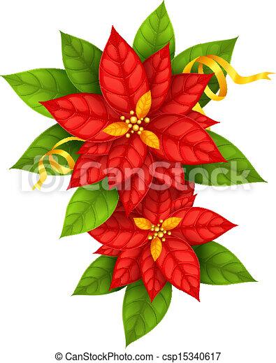 Estrella, oro, flor de nochebuena, flores, navidad, cinta.... clip ...