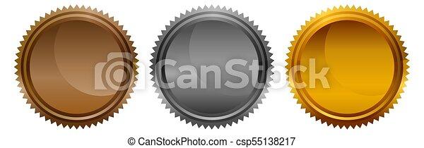 Medallas redondas de monedas de plata de bronce blanco - csp55138217