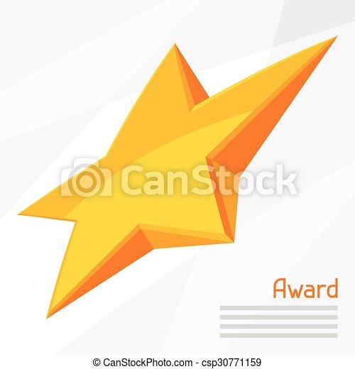 La ilustración de la estrella dorada premiada en el fondo abstracto - csp30771159