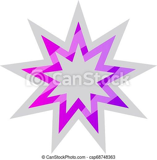 Blanco y púrpura símbolo de la estrella Bahai ilustración vectorial en un fondo blanco - csp68748363