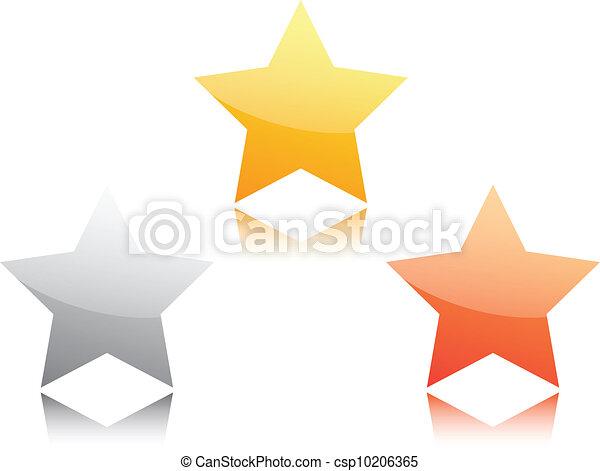 Estrella de oro, plata y bronce - csp10206365