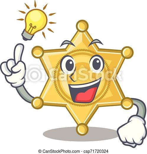 Tener una placa de policía estrella en la mesa de dibujos animados - csp71720324