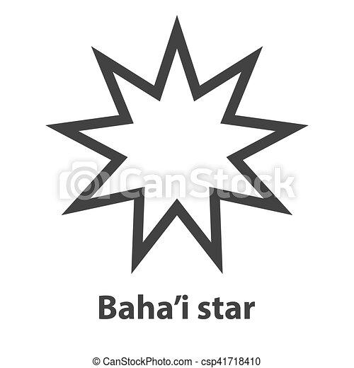 Icono del símbolo de las nueve estrellas. Señal de religión Bahaísmo - csp41718410