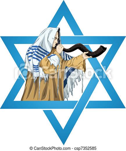 La estrella del rabino David con talit vuela el shofar - csp7352585