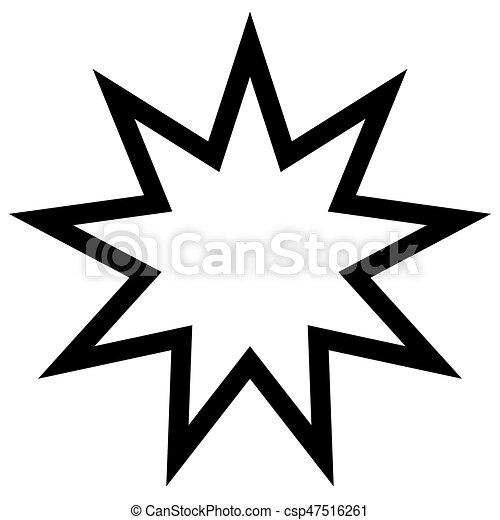 Simbol Bahai estrella de nueve ángulos, nueve es un número sagrado - csp47516261