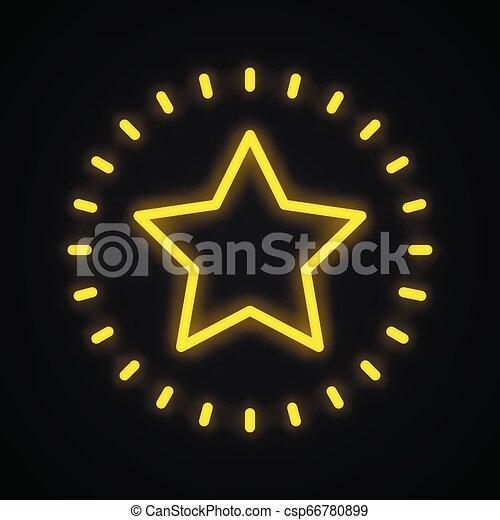 Señal de estrella Neon. El símbolo de la estrella brillante. - csp66780899