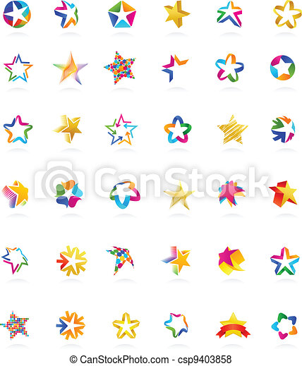 estrella, vector, iconos, colección - csp9403858