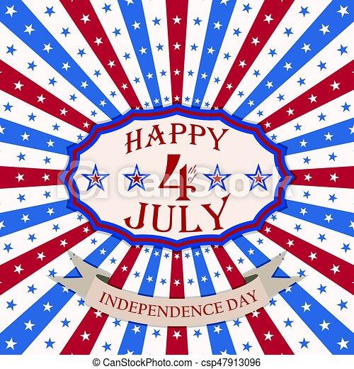 Vector Feliz 4 de julio con estrellas y rayas. Diseño festivo del día de la independencia de EE.UU. - csp47913096