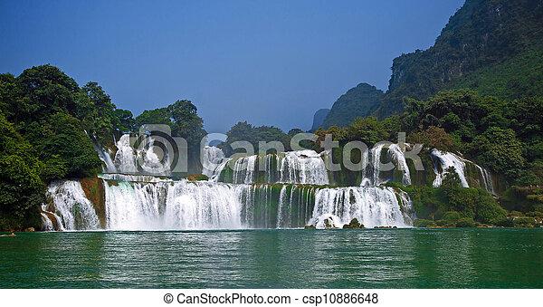 estrondo, -, detian, cachoeira, cao, gioc, proibição, vietnã - csp10886648