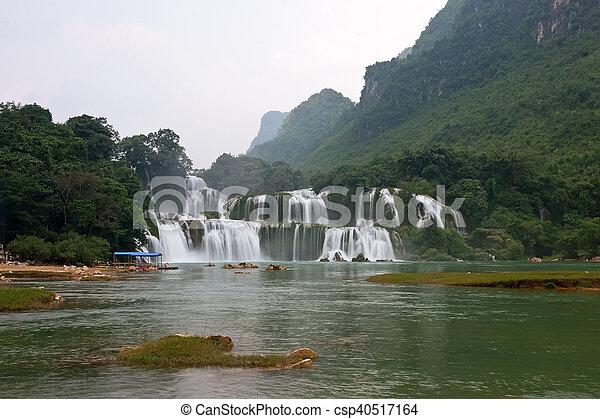 estrondo, -, detian, cachoeira, cao, gioc, proibição, vietnã - csp40517164