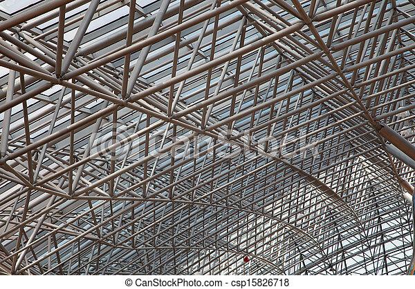 Estructura vidrio metal perspectiva techo