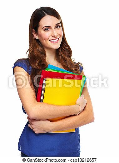 estudante, mulher, jovem, book. - csp13212657