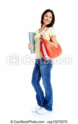 estudante, mulher, jovem, book. - csp13276370