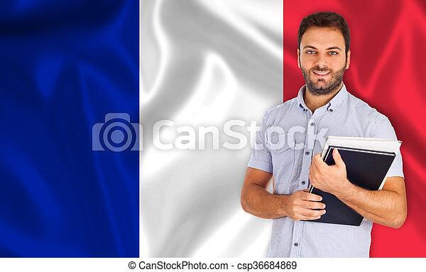 estudante, sobre, macho, bandeira, francês - csp36684869