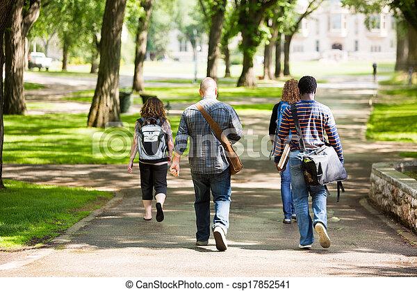 estudantes, andar, universidade, estrada, campus - csp17852541