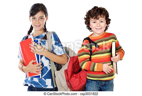 estudantes, crianças escola, dois, retorno - csp3031822