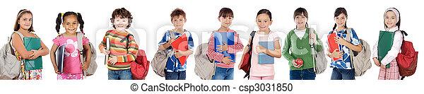 estudantes, muitos, crianças, retorno, escola - csp3031850