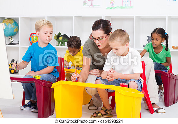 estudantes, professor, pré-escolar - csp4393224