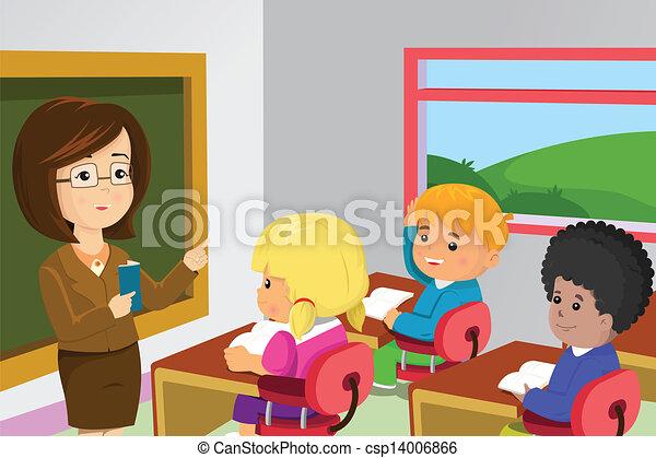 estudantes, sala aula, professor - csp14006866