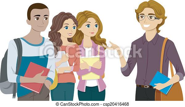 estudantes, seu, professor, reunião - csp20416468