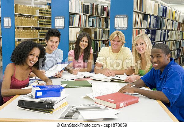 estudantes, universidade, grupo, biblioteca, trabalhando - csp1873059