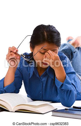 estudar, após, cansadas - csp9632383