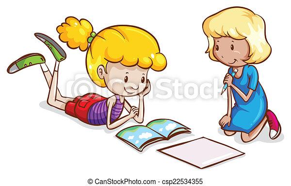 Estudar Garotinhas Pequeno Estudar Meninas Ilustracao Fundo