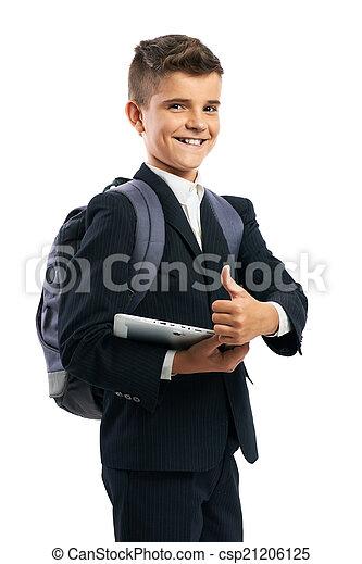Estudiante sosteniendo una tableta y mostrando pulgares arriba - csp21206125