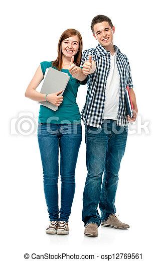Estudiantes mostrando pulgares arriba - csp12769561