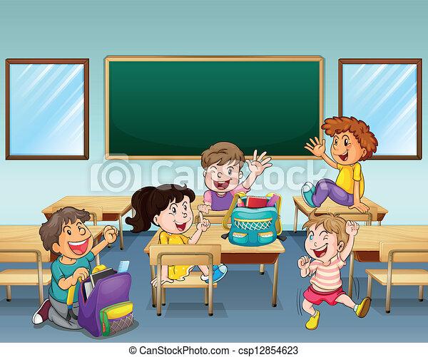 Estudiantes felices dentro de una clase - csp12854623
